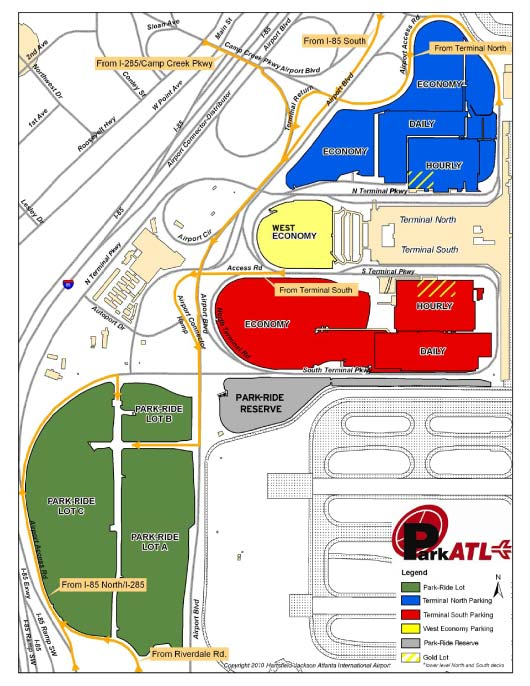 Parking Map for ATL airport