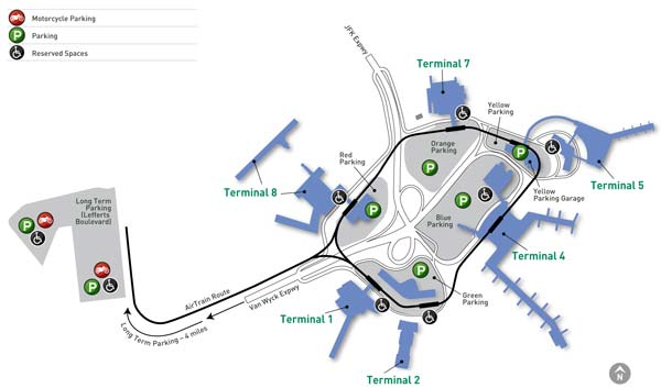 image of parking map for John F Kennedy Int'l Airport