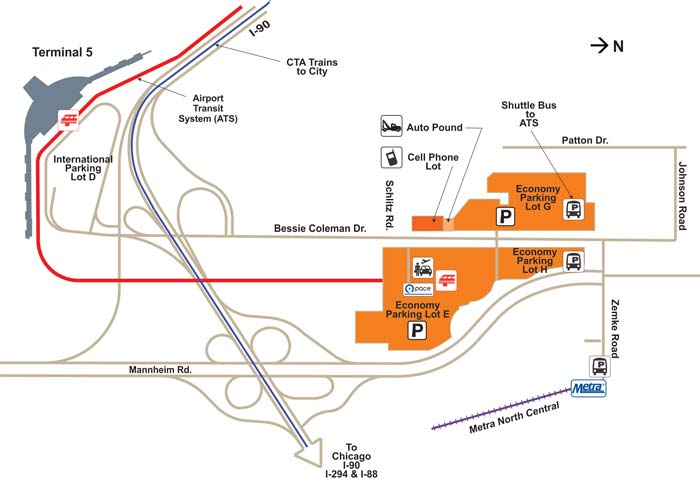 image of economy parking map for Chicago ORD Airport
