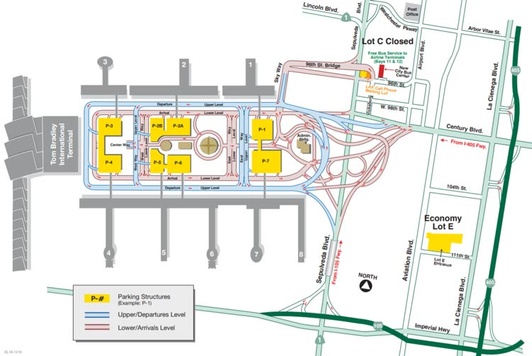 Map of LAX parking lots onsite