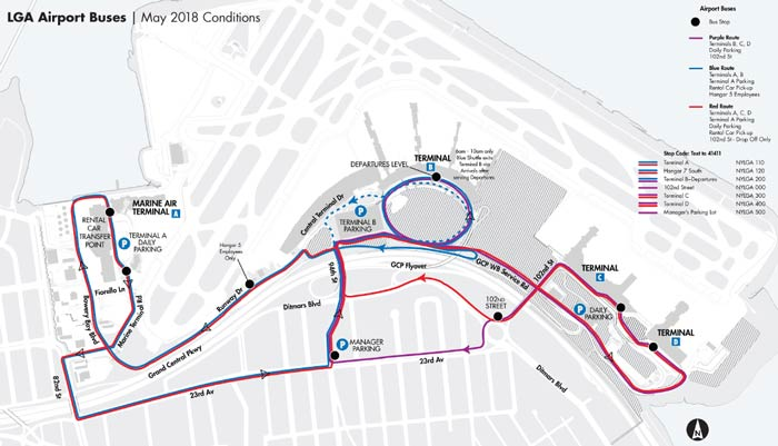image of airport bus map for LaGuardia Airport