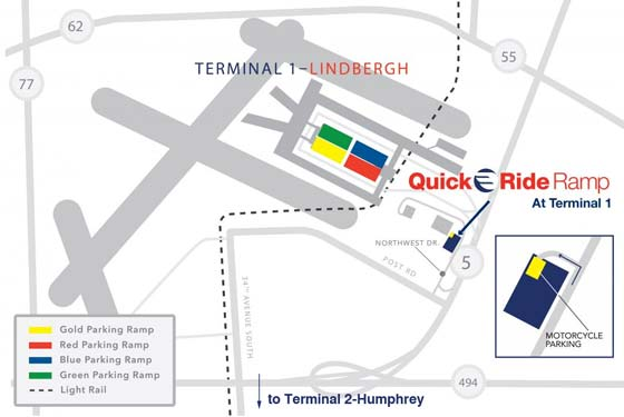 image of MSP parking map for Terminal 1 Lindbergh