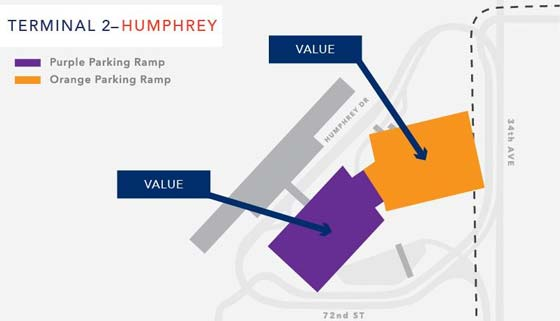 image of MSP parking map for Terminal 2 Humphrey