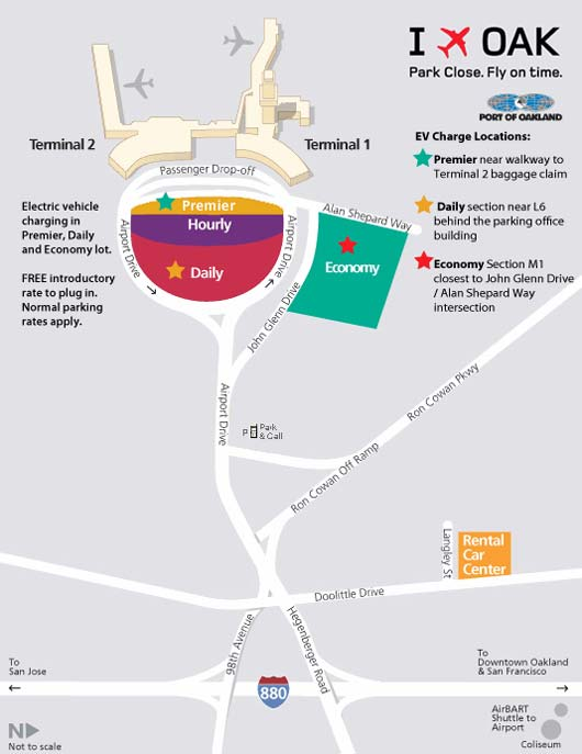 Parking Map for OAK airport