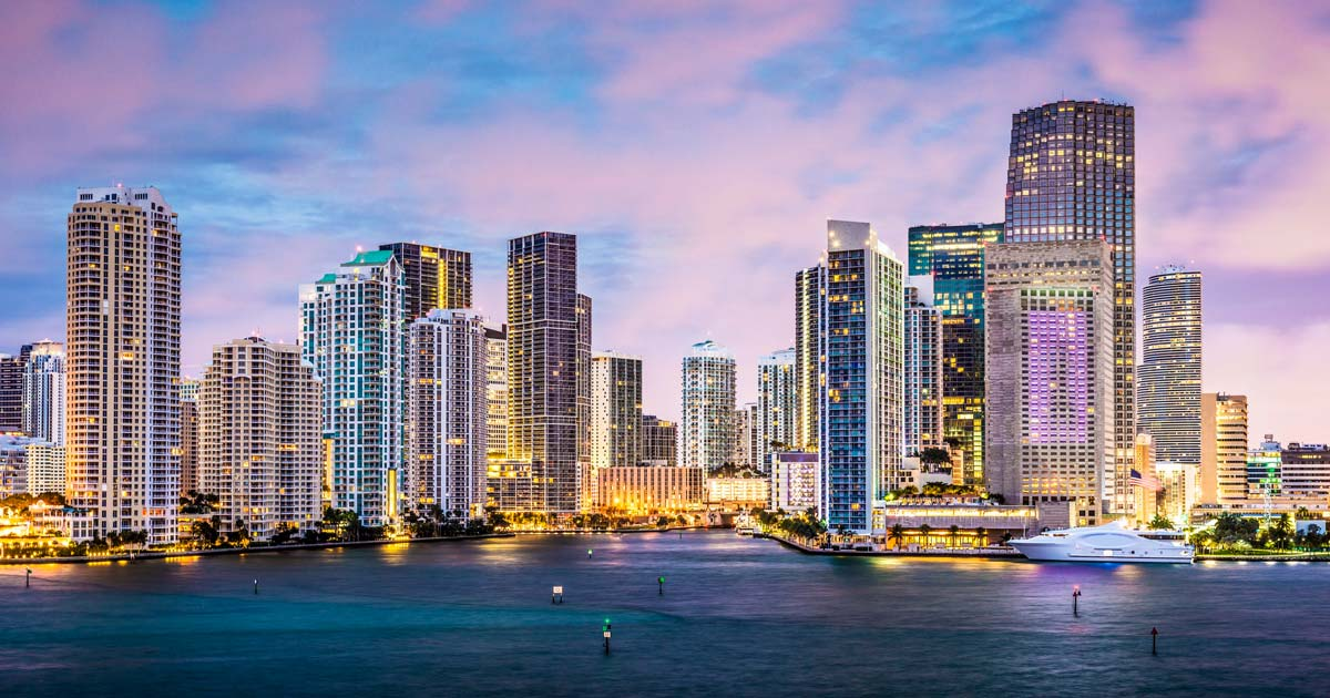 image of downtown Miami FL skyline on the waterfront