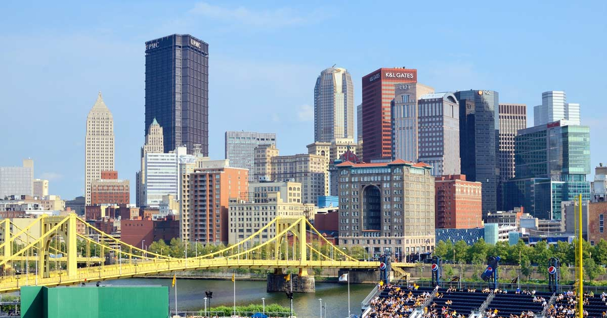image of Pittsburgh Pirates ballpark with downtown skyline in the background