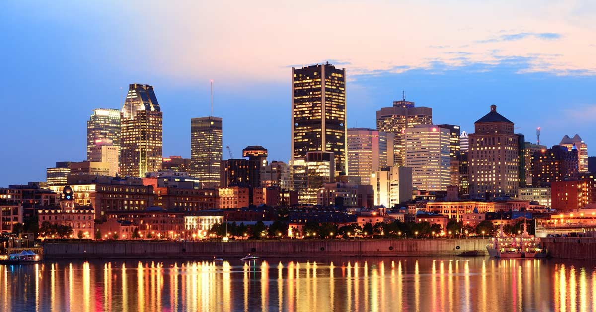 Downtown Montreal skyline at dusk